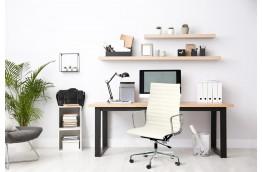 Skórzany fotel biurowy Angus - biały i czarny