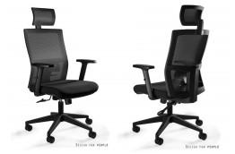 Czarny, ergonomiczny fotel obrotowy Task