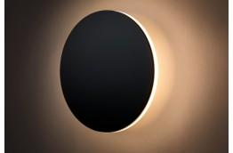 Czarny kinkiet Shadow Sun, czarny okrągły kinkiet 25 cm Shadow Sun