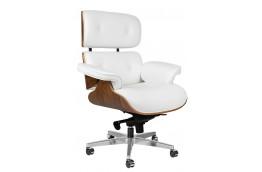 Skórzany fotel biurowy Lounge Gubernator biały / orzech, białe fotele biurowe