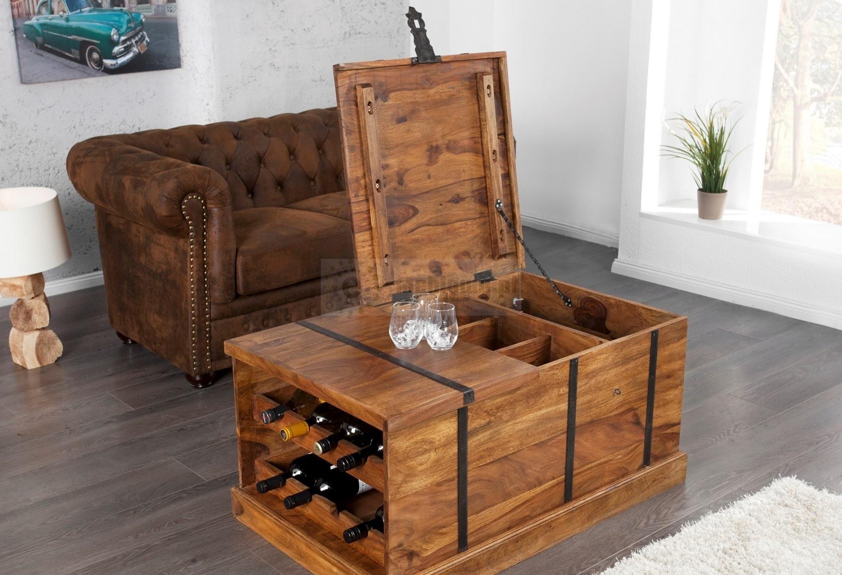 Drewniany stolik kawowy Box, drewniana ława, drewniany