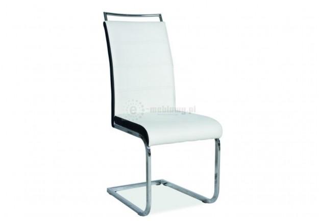 krzesło, krzesła, krzesło do jadalni, krzesło do salonu, krzesło ekoskóra,biało czarne,chromowane