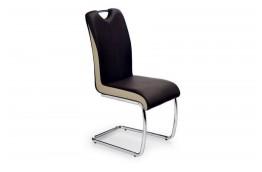krzesło, krzesła, krzesło do jadalni, krzesło do salonu, krzesło ekoskóra, ciemny brąz,champagne,chromowane