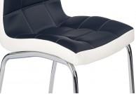 krzesło nowoczesne, krzesła, krzesło do salonu, krzesła do jadalni, ekoskóra, czarno-białe, nogi