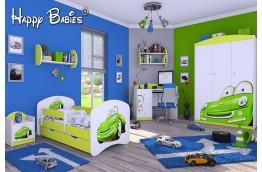 meble, łóżko dla dziecka, łóżko dla chłopca, łóżko dziecięce samochód zielony, zielone łóżko dla chłopca, aranżacja