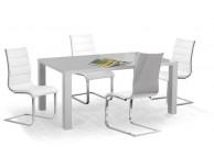 krzesło, krzesła, krzesło do jadalni, krzesło do salonu, krzesło ekoskóra, szaro-biały,zestaw, tył