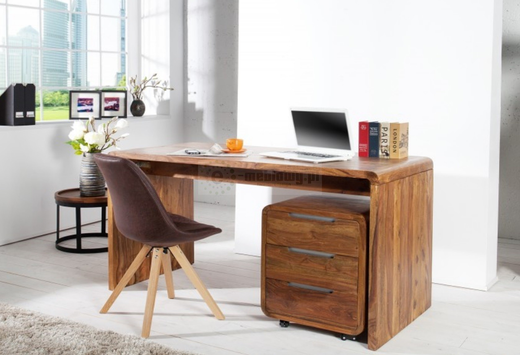 Tylko na zewnątrz Drewniane biurko Fidżi, biurko 150cm, biurka, eleganckie biurka CL53