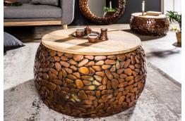 stolik,stoliki,zestaw dwóch stolików,drewniane stoliki,miedziany stolik,stolik kawowy