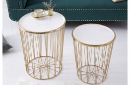 zestaw dwóch złotych ław Family, złote ławy do salonu Family,ławy z tacą i schowkiem