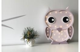 Drewniana lampka do pokoju dziecięcego Sowa