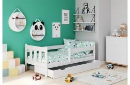 Łóżko dziecięce z wysuwaną szufladą i barierką Marinella