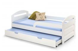 Łóżko dwuosobowe z wysuwanym dolnym materacem i barierką Natalie