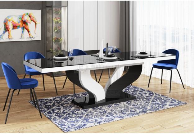 rozkladany stół lakierowany viva, stół polski viva biało czarny, stół i krzesła, czarny blat