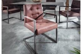 brązowe krzesło z mikrofibry Rider w stylu vintage, krzesło z podłokietnikami rider,krzesła brązowe
