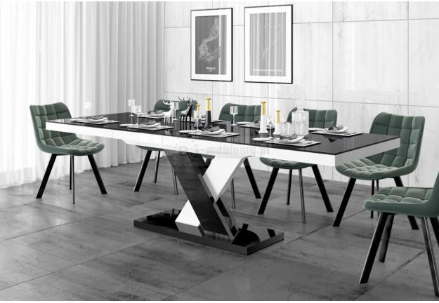 rozkładany stół w wysokim połysku xenon lux, stół czarno biały lakierowany xenon lux, stoły rozkładane do salonu