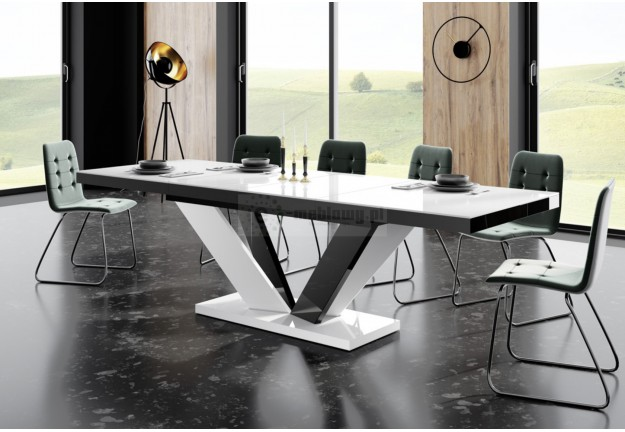 rozkładany stół viva 2 w wysokim połysku, nowoczesny stół do saonu viva 2