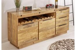Komoda z drewna sosnowego Raini 175 x 75 x 45 cm z miejscem na wino