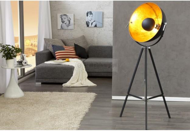 lampa podłogowa czarno złota, czarno złota lampa do salonu TV, lampa TV, oświetlenie do domu