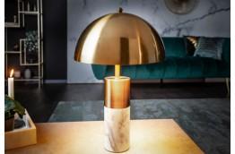 Lampka na komodę do salonu Umbrella złota z marmurem