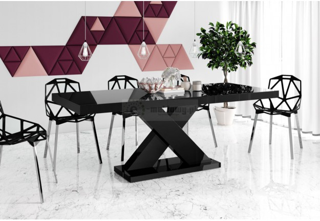 nowoczesny stół xenon czarny połysk, stół rozkładany xenon czarny połysk