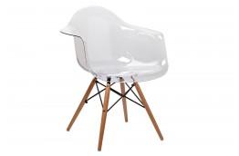 Transparentne krzesło z nogami z drewna bukowego ICE, krzesła z poliwęglanu Ice,